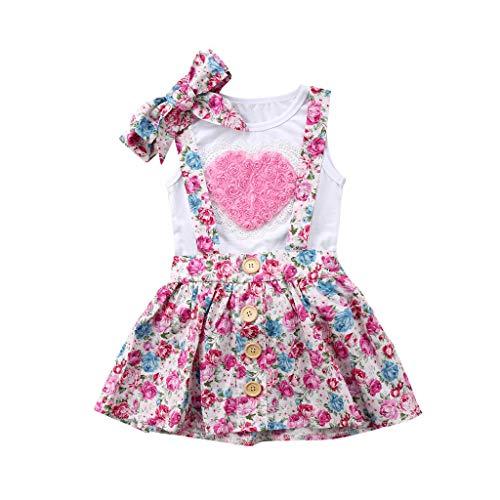 Ropa Bebe Niña Recien Nacido Verano 6 Meses a 3 años - 3PC/Conjunto - Rosa Forma de Corazon Camiseta sin Mangas + Pantalones Cortos Florales + Banda de Pelo