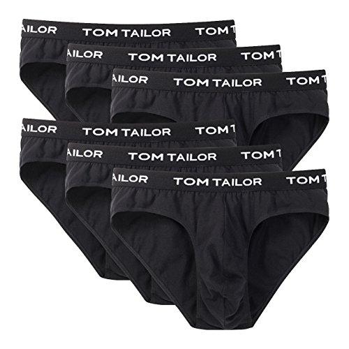 TOM TAILOR Herren New Retro Slip 6er Pack - Black-Black-Black (9303) - XL