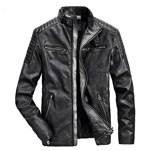 YoMont Chaqueta de piel sintética para hombre, con forro interior cálido, vintage, cortavientos, informal, de invierno Negro L
