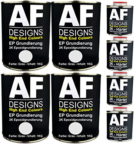 Alex Flittner Designs Epoxidfüller 4 x 1,20kg 2K Grundierung Füller EP Füller in grau für Autolack Rostschutz