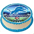Detroit Lions NFL Personalized Cake Topper Icing Sugar Paper 8 Inches Round Sheet Edible Frosting Photo Birthday Cake Topper (Best Quality Printing)