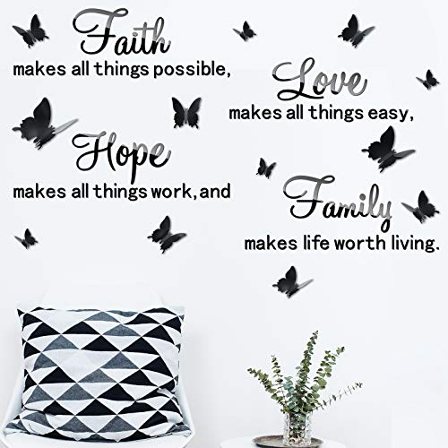 3D Acrylic Mirror Wall Decor Stickers Removable Butterfly Mirror Wall Stickers DIY Faith Makes All Things Possible for Home Office School Teen Dorm Room Mirror Wall Decoration (Black)