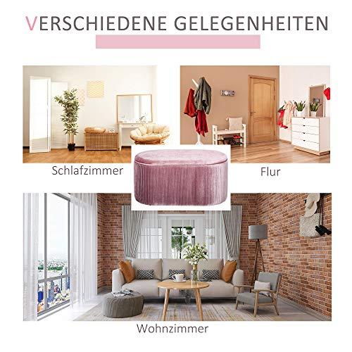 HOMCOM Sitzbank Polsterbank mit Stauraum Truhenbank für Wohnzimmer französische Stil Samt elegant Rosa 81 x 40 x 41 cm - 6
