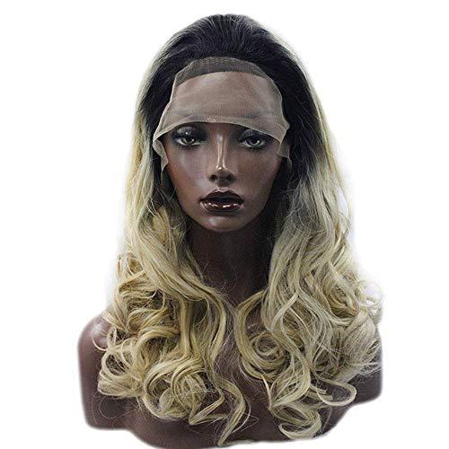 LQUIDE Front Lace Perücke Gradient Long Curly für Frauen Seitenscheitel Hitzebeständige Faser 18 Zoll (Farbe: Foto Farbe)