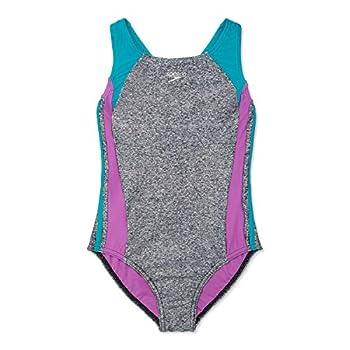 Speedo Girls  Swimsuit One-Piece Infinity Splice Thick Strap Heather Grey/Ceramic 16