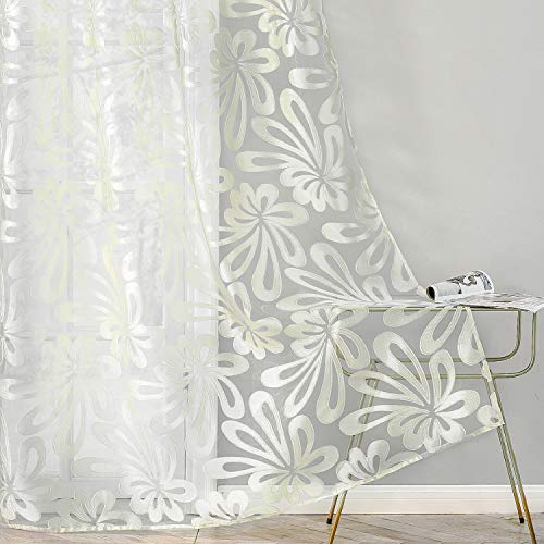 Top Finel Floral Sheer Curtains 84 Inches Long Voile Grommet Window Curtains for Living Room Bedroom, 2 Panels, Cream