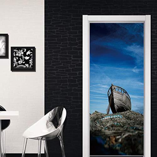 SXJWZH 3D Tür Dekoration Tapete Moderne Design Tür Aufkleber Dunkelblaues Horrorhimmel Schäbiges Holzboot 90X200Cmpvc Selbst-Klebstoff Wasserdicht Poster Home Tür Wandbild Aufkleber Aufkleber Po