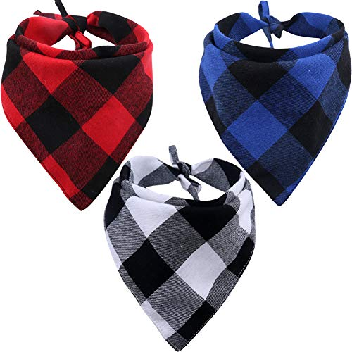 KZHAREEN 3 Pack Dog Bandana Plaid Reversible Triangle Bibs Scarf Accessories for Dogs Cats Pets Large