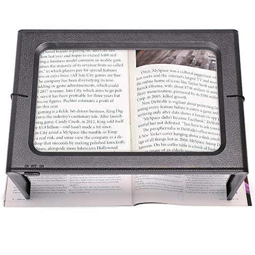 3X Large Full Page Magnifying Glass Hands Free Rectangular Reading Magnifier with LED Lights Foldable Desktop Portable Magnifier Ideal for Reading Seniors