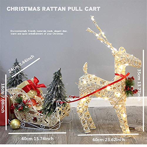 Detazhi Large Size Pre-Lit Led Light Up Reindeer and Sleigh Set | Christmas Holiday Lawn Decoration | Indoor/Outdoor, Christmas Ornament