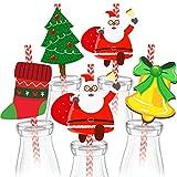 Dusenly Paquete de 36 pajitas desechables de papel para fiestas de Navidad