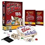 Discover with Dr. Cool Mine for Gems Dig Kit – Excavate 15 Real Gemstones and Crystals Including Amethyst, Tiger's Eye & Quartz, Great Stem Science Kit for Boys and Girls