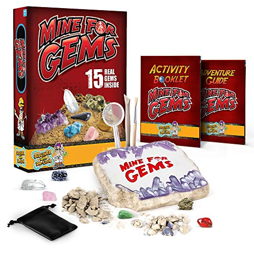 Discover with Dr. Cool Mine for Gems Dig Kit – Excavate 15 Real Gemstones and Crystals Including Amethyst, Tiger's Eye & Quartz, Science Kits Like This Make Great STEM Gifts for Boys, Girls