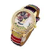 Ethnique Femmes Fille Fleurs Montre PU Cuir Femme Casual Accessoires Wristwatch Robe Jaune OneSize