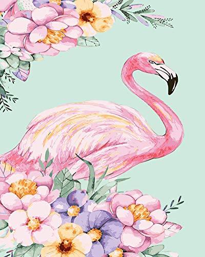 WOWDECOR DIY Malen nach Zahlen für Erwachsene Kinder Mädchen, Flamingos Pink Blume 40x50 cm Vorgedruckt Leinwand-Ölgemälde (mit Rahmen)