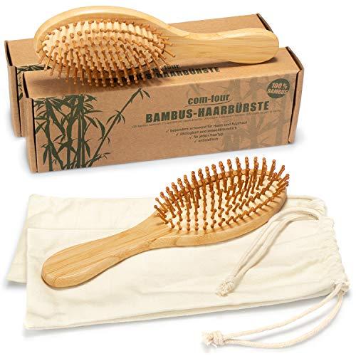 com-four® 2X Natur-Haarbürste aus Bambus - Umweltfreundliche Bürste mit Naturborsten für natürlich schöne Haare - Für Männer, Frauen, Kinder - 100% Vegan (02 Stück)