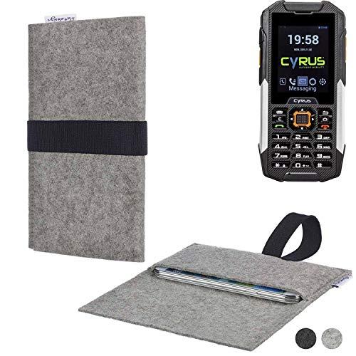 flat.design Handy Hülle Aveiro für Cyrus cm 16 passgenau Handytasche Filz Tasche Etui Case fair schwarz hellgrau