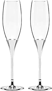 Kate Spade New York Simply Sparkling Silver Champagne Toasting Flute Pair, Crystal and Silver-Plated Metal