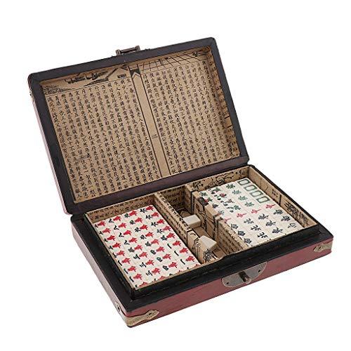 Unbekannt Chinesisches Mah Jongg Mahjong Brettspiel Gesellschaftsspiel Reiseset mit Holzkiste