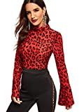 SweatyRocks Women's Mock-Neck Graphic Print Long Sleeve T Shirt Basic Blouse Tops Red Leopard L