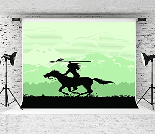ZOANEN Photography Background,America Silhouette of Native American Indian Riding Horseback with Spear Apache,Party Decoration Banner Photo Booth Backdrop for Studio Props(10x7FT)