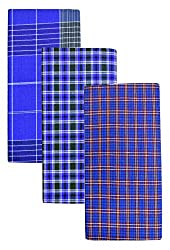 BlueMen Cotton Lungis for Men (Multi-Coloured pack of 3)||Assorted Checks
