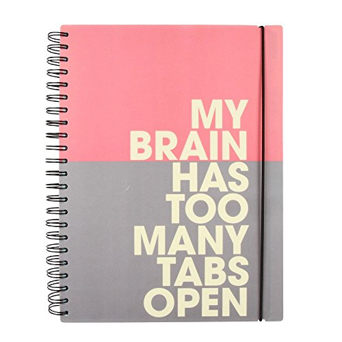 Paperchase Too Many Tabs A4 Slogan 10 Subject Notebook, Notepad, Journal, Subject Dividers, 150 Sheets (300 Pages) of Ruled White Paper, Notepad, Journal, Elastic Closure