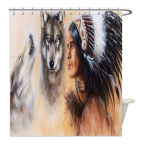 CHATAE Duschvorhang aus Polyester, personalisierbar, wasserdicht, indisches Design, Mystisches Gemälde von Jungen Indianern in Ethnischen Federn mit Wölfen, antiker Druck, Dekoration, Mehrfarbig