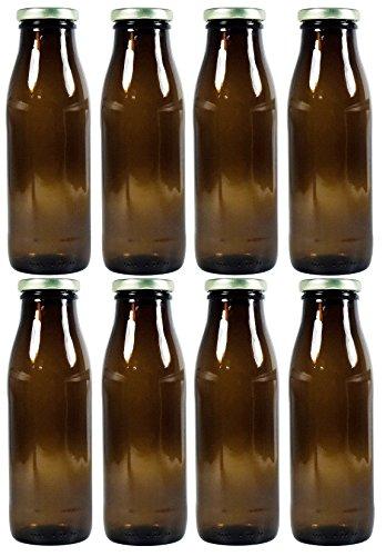 Milchflaschen mit Schraubverschluss 8x 500ml, Saftflasche zum selbst befüllen, inkl. Trichter
