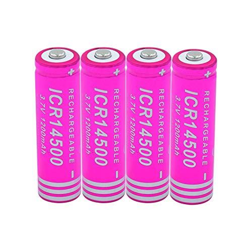 WSXYD Batería Li-Ion De 14500 3.7v 1200mah Icr 14500, Recargable para El Banco del Poder De La Linterna del Led 4pieces