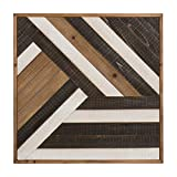Kate and Laurel Ballez Shiplap Wood Plank Art, Black, White and Rustic Brown