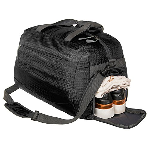 Coreal Sport Gym Bag Duffel Bag with Shoes Compartment for Men and Women Black