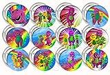 "Barney Button Pins Purple Dinosaur Party Favors Supplies Decorations Collectible Metal Pinback Buttons, Large 2.25"" -12 pcs"