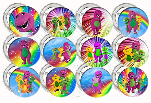 Barney Button Pins Purple Dinosaur Party Favors Supplies Decorations Collectible Metal Pinback Buttons, Large 2.25 -12 pcs
