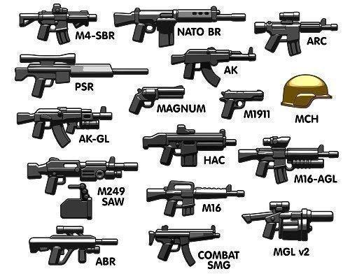 Set di armi da combattimento moderno BRICKARMS per figure LEGO.  M4 SBR  NATO fucile di battaglia  Avanzata Recon Carbine (ARC)  Precisione Sniper Rifle (PSR)  AK  Magnum pistola  AK-GL  M1911 V2 Pistola  Modern Combat Helmet  M249 SAW con Ammo Box  ...