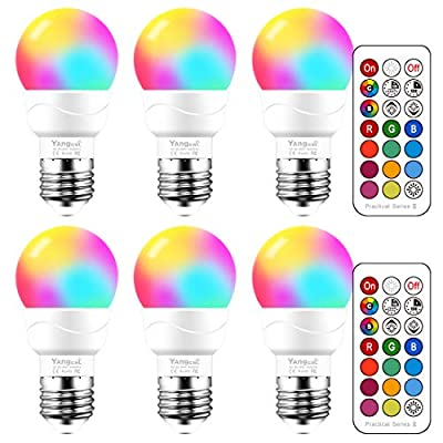 Yangcsl RGB LED Color Changing Light Bulb with Remote Control, Memory and Sync and Timer, E26 3W Mood Ambiance Lighting