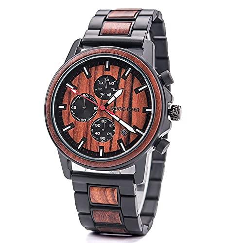 yuyan Red Sandalwood Business Watch Watch Natural Health Elements Men's Wood Wood Relojes Diseñador Movimiento de Cuarzo Hecho a Mano Importado de Japón Relojes de Las señoras