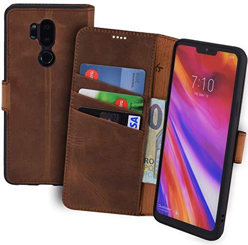 Suncase Book-Style kompatibel für LG G7 ThinQ Hülle (Slim-Fit) Leder Tasche Handytasche Schutzhülle Hülle (mit Standfunktion & Kartenfach - Bruchfester Innenschale) in antik Coffee