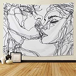 Abstract Sketch of Kissing Lovers