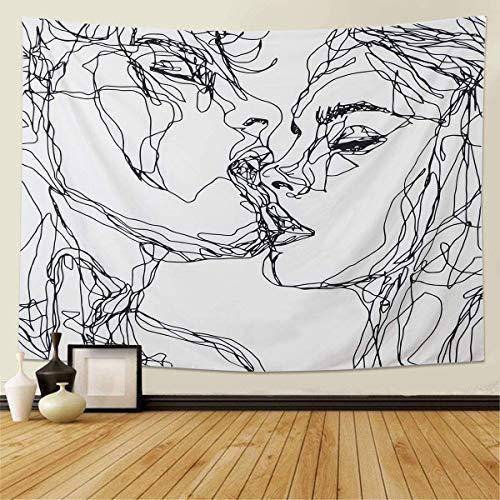Skull Tapiss Series Kissing Lover Tapices Montaje de pared con guirnalda de rosa Decoración para el hogar Tapicería Mural Alfombra esqueleto humano en blanco y negro para el espacio,130*150cm