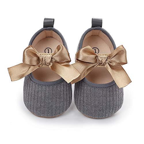 Geagodelia Zapatos de bebé antideslizantes con suela blanda, zapatos de princesa con lazo, para bebés de 0 a 12 meses gris 6-9 Meses