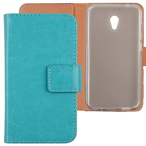"Gukas Flip PU Billetera Design para Alcatel U5 3G 4047D 4047F 5"" Funda De Carcasa Cartera De Cuero Case Cover Piel (Azul)"
