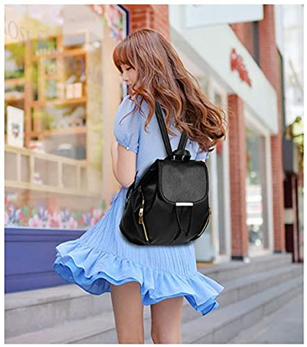 Women's mini backpack wallet pu leather backpack wallet ladies casual shoulder bag school packaging-black