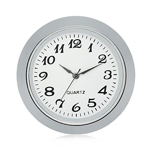 ShoppeWatch Mini Clock Insert Quartz Movement Round 1 7/16' (35mm) Miniature Clock Fit Up White Face Silver Tone Bezel Arabic Numerals CK095SL