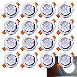 Hengda Set de 20 focos LED para interiores, downlights de luz blanca, protección, 5W, 420 lúmenes, 6500K, color plateado