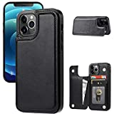 JOYAKI Wallet Case Compatible with iPhone 12 Pro/12,Slim Protective case with Card Holder,Premium PU Leather Kickstand Card Slots Case with Double Magnetic Clasp for iPhone 12pro/12(6.1') -Black