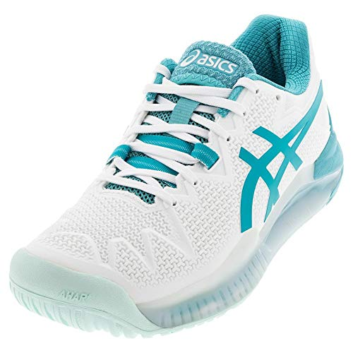 ASICS Women's Gel-Resolution 8 Tennis Shoes, 5M, White/Lagoon