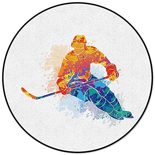 Aquarell Sport Hockeyspieler Runde Anti-Rutsch-Teppich Kinder Schlafzimmer Teppich Wohnzimmer Matte Computer Stuhl Pad Diameter 120cm