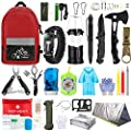 Emergency Survival Kit, 101 Pcs Survival Gear First Aid Kit, Outdoor Trauma Bag with Tactical Flashlight Knife Pliers Pen Blanket Bracelets Compass for Camping Earthquake or Adventures