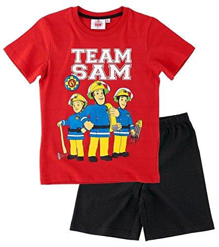 Feuerwehrmann Sam Kollektion 2017 Schlafanzug 98 104 110 116 122 128 134 140 Pyjama Shortie Shorty Fireman Sam Jungen Neu Rot-Schwarz (104 - 110)